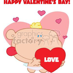 clipart RF Royalty-Free Illustration Cartoon funny character Valentines love hearts heart cupid