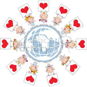 Eleven Cupids with Heart Banners on World