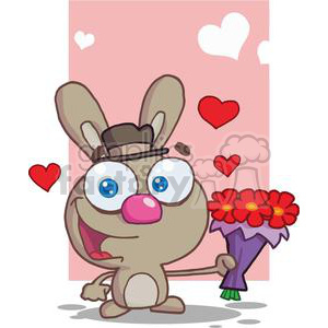 Cute Brown Bunny With Flowers clipart. Commercial use image # 378590