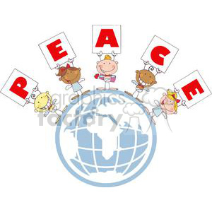 Different Nationalities Stick Cupids Group with Banners PEACE in the World clipart. Royalty-free image # 378595