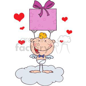 A Baby Boy Cupid with Gift clipart. Commercial use image # 378605