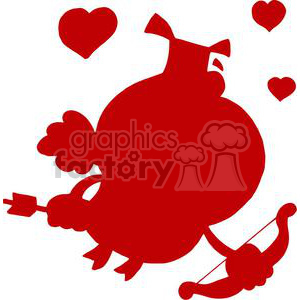 Cute Pig Cupid with Bow and Arrow Flying With Hearts clipart. Royalty-free image # 378610