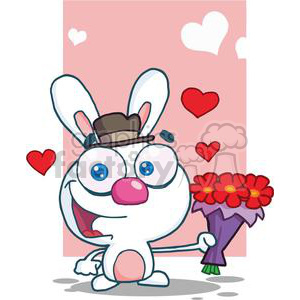 A Cute White Bunny With Bouquet Of Red Flowers clipart. Commercial use image # 378620