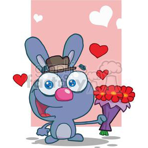 Cute Gray Bunny With Flowers clipart. Royalty-free image # 378630
