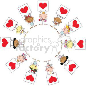 Different Nationalities Stick Cupids In A Circle and Banners clipart. Commercial use image # 378635