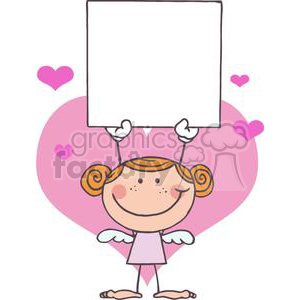 A Happy Cupid Girl with Banner clipart. Commercial use image # 378645