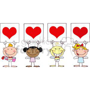 Different Nationalities Cupids Standing In A Row With Banners animation. Commercial use animation # 378650