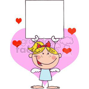 a blond haired little girl cupid with a red ribbon and a blank banner