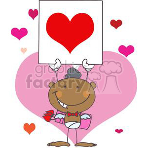 African American Cupid Smiling with Large Heart Banner clipart. Commercial use image # 378660