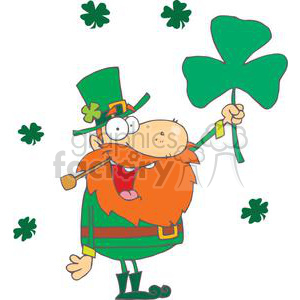 Happy Pipe Smoking Leprechaun With A Big Shamrock clipart. Royalty-free image # 378877