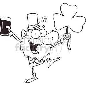 Lucky Leprechaun Dancing with a Glass of Ale and Shamrock clipart. Commercial use image # 378882