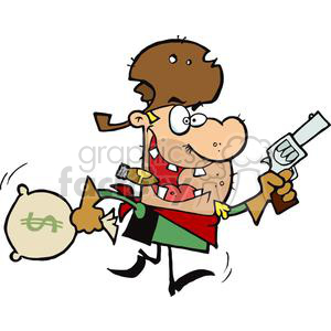 Outlaw Steals Money with a Gun clipart. Commercial use image # 378897
