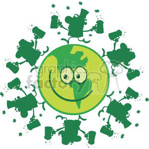 Lucky green planet smiling with Leprechauns dancing on it clipart. Royalty-free image # 378902