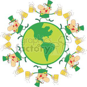 Six Happy Leprechaun Men With Two Pints of Beer in Globe