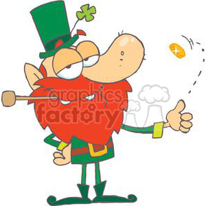 Lucky Leprechaun Flipping A Gold Coin clipart. Royalty-free image # 378917