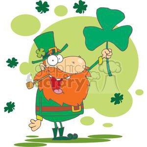 A Golly  Leprechaun holding a Shamrock for St. Patricks Day clipart. Royalty-free image # 378937