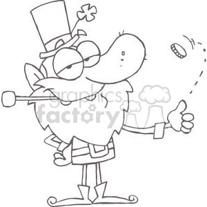 Lucky Leprechaun Playing with a Gold Coin clipart. Commercial use image # 378947