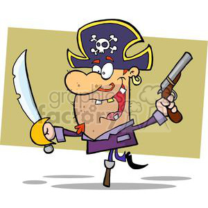 Pirate Brandishing Sword and Gun Balances on Peg Leg clipart. Commercial use image # 378952