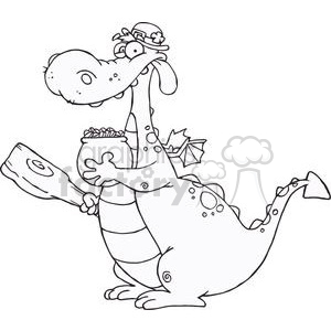 A Funny Dragon Leprechaun with a pot of gold and mace clipart. Commercial use image # 378957