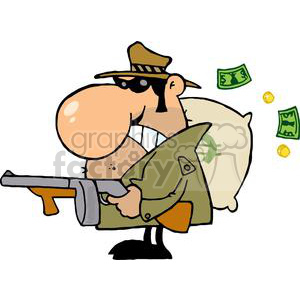 Gangster with his Gun and Bag of Money clipart. Royalty-free image # 378962