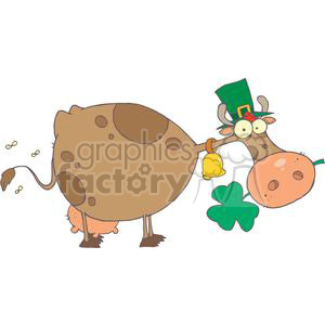St. Patrick Cow with Shamrock in Mouth and Hat clipart. Commercial use image # 378967