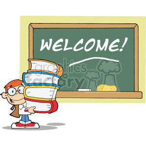 Student With Books In Front Of School Chalk Board With Text Welcome! clipart. Commercial use image # 378972