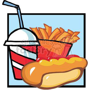 fast food hot dog drink and french fries