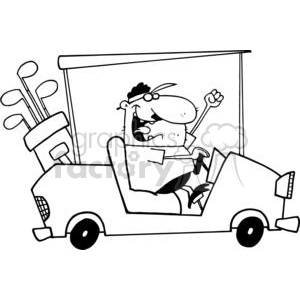 A Happy Golfer Drives Golf Cart clipart. Royalty-free image # 379007