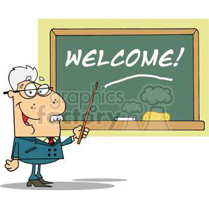 A School Professor Displayed On Chalk Board Text Welcome! clipart. Royalty-free image # 379017