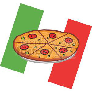 Pepperoni Pizza In Front Of Flag Of Italy clipart. Royalty-free image # 379027