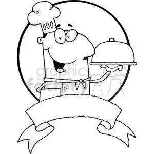 A Banner OF A Male Chef Serving Food On A Sliver Platter clipart. Commercial use image # 379037