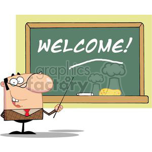 A Male School Teacher With A Pointer Displayed On Chalk Board Text Welcome! clipart. Commercial use image # 379047