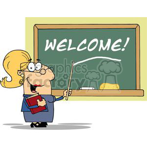 A Blond Female School Teacher With A Pointer Displayed On Chalk Board Text Welcome! clipart. Royalty-free image # 379052