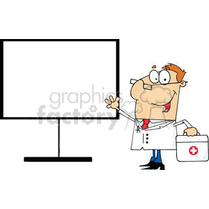 A Male Doctor Shows His Hand On A Board With First Aid Kit clipart. Commercial use image # 379057