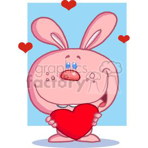A Pink Rabbit With Heart In Front Of Blue Background clipart. Royalty-free image # 379062