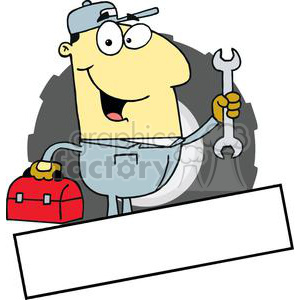 An Asian Mechanic Man With A Tool Box And Wrench Banner clipart. Commercial use image # 379072