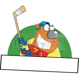 Banner Of A Sporty Bear Playing Ice Hockey clipart. Commercial use image # 379077