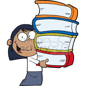 African American Girl With Four Books In Her Hands clipart. Commercial use image # 379082