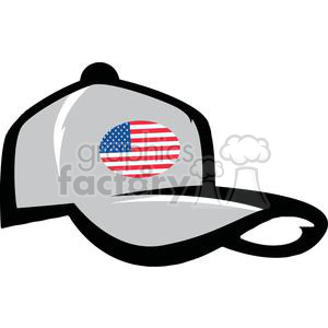 A Gray Ball Cap With American Flag clipart. Commercial use image # 379087