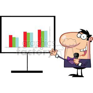 A Man Hosting A Show For MLM Bussines And Talking Into A Microphone clipart. Commercial use image # 379097