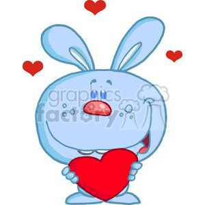 A Blue Bunny Holds A Red Heart