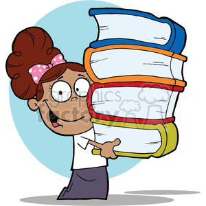 A African American School Girl With Books In Their Hands clipart. Commercial use image # 379107