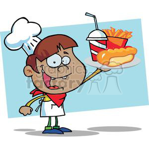 A African American Boy Chef Holding Up A Hot Dog Drink And French Fries In Front Of A Blue Background clipart. Royalty-free image # 379117
