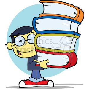 An Asian Boy Carrying Four Different Colored Books In Front of A Blue Circle Background