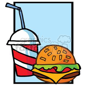 fast food hamburger and drink on blue background