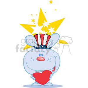 Patriotic Blue Bunny Holding A Heart In Front of Yellow Stars clipart. Commercial use image # 379137