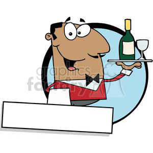 A Friendly African American Male Butler Serving Wine Banner clipart. Commercial use image # 379142