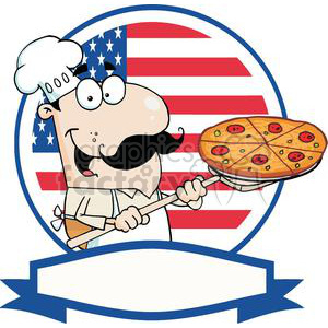 A Pleased Chef Inserting A Pepperoni Pizza Pie In Front of An American Flag With Out Line Banner At the Bottom