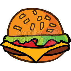 Fast Food Hamburger With The Works clipart. Royalty-free image # 379152