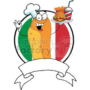 Hot Dog Chef Serving A Hamburger French Fries And Drink In Front Of Flag Of Italy Banner clipart. Royalty-free image # 379162